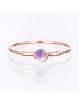Dainty Raw Amethyst Ring, Rose Gold Ring, Delicate Ring, Raw Stone Ring, Engagement Ring, Crystal Ring, Raw Gemstone Ring, Amethyst Jewelry by Etsy