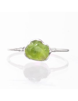 Raw Peridot Ring, Sterling Silver August Birthstone Ring, Peridot Jewelry, Raw Stone Ring, Dainty Ring, Green Stone Ring, Gift For Her by Etsy