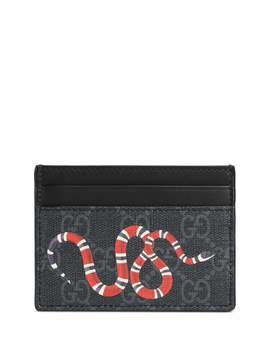 Bestiary Snake Print Gg Supreme Card Case by Gucci