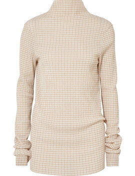 Checked Crepon Turtleneck Top by Jil Sander