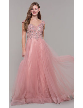 Long Tulle V Neck Prom Dress With Beaded Bodice by Promgirl