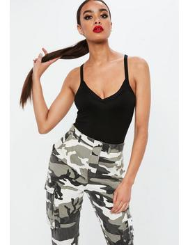 Black Spliced Strap Detail Washed Bodysuit by Missguided