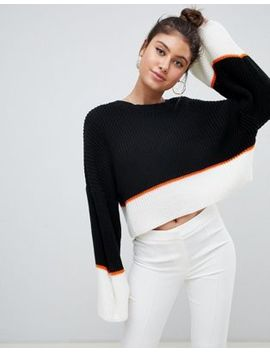 Missguided Colour Block Oversized Jumper In Multi by Missguided