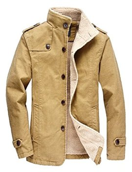 Vcansion Men's Winter Fleece Windproof Jacket Wool Outerwear Single Breasted Classic Cotton Jacket Coats by Vcansion