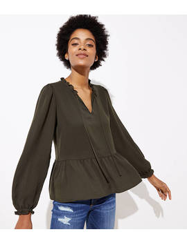 Ruffled Split Neck Peplum Blouse by Loft
