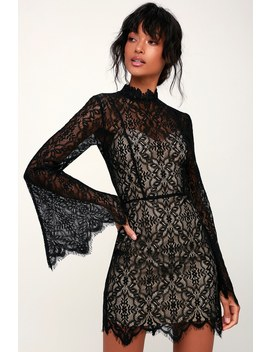 Carson Nude And Black Lace Bell Sleeve Mini Dress by Ryse