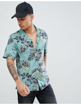 Pull&Bear Floral Shirt With Revere Collar In Green by Pull&Bear