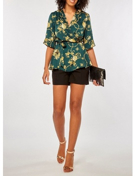 Green Chain Floral Print Wrap Top by Dorothy Perkins