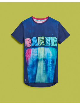 Reflective Logo Cotton T Shirt by Ted Baker