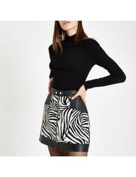 White Jacquard Mixed Zebra Print Mini Skirt by River Island