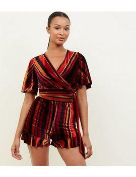 Black Multi Stripe Velvet Crop Top by New Look