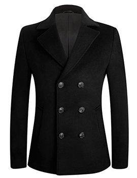 Men's Stylish Slim Fit Wool Pea Coat Winter Jacket by Aptro