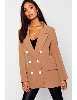 Woven Double Breasted Button Detail Blazer by Boohoo