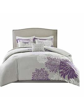 Comfort Spaces – Enya Comforter Set   5 Piece – Purple, Grey – Floral Printed – Full/Queen Size, Includes 1 Comforter, 2 Shams, 1 Decorative Pillow, 1 Bed Skirt by Comfort Spaces