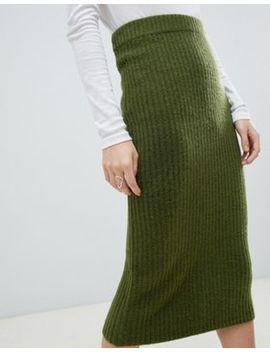 Asos Design Wide Rib Midi Skirt by Asos Design