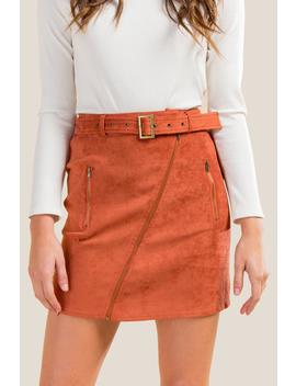 Heidi Faux Suede Belted Skirt by Francesca's