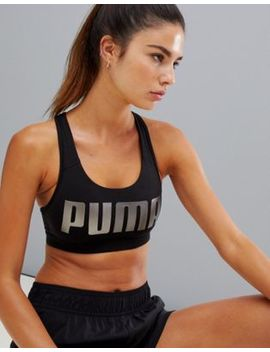 Puma Logo Racerback Bra In Black by Puma