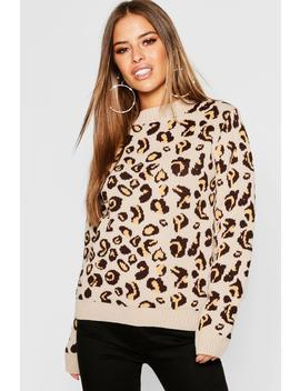Petite Leopard Print Oversized Jumper by Boohoo