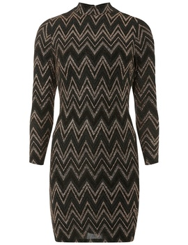 Petite Brown Zig Zag Bodycon Dress by Dorothy Perkins
