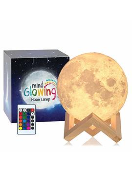 Mind Glowing 3 D Moon Lamp   16 Led Colors, Dimmable, Rechargeable Lunar Night Light (Large, 5.9in) Full Set With Wooden Stand, Remote & Touch Control   Cool Nursery Decor For Your Baby, Top Gift Idea by Mind Glowing