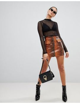 Pretty Little Thing Zip Front Faux Leather Skirt In Snake by Pretty Little Thing