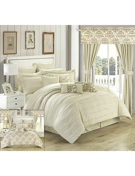 Chic Home Hailee 24 Piece Comforter Set Complete Bed In A Bag Pleated Ruffles And Reversible Print With Sheet Set And Window Treatment, Queen Beige by Chic Home