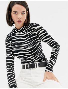 Warehouse Roll Neck Top In Zebra Print by Warehouse