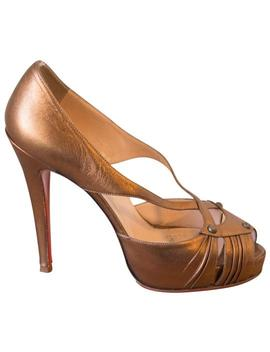 Bronze Scissor Girl Leather Pumps by Christian Louboutin