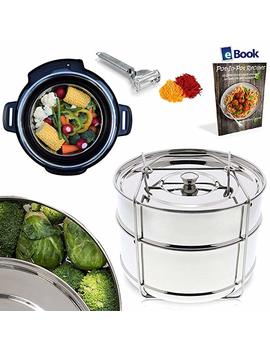 Premium Stackable Insert Pans   2 Tier   Best Bundle   Fits Instant Pot Pressure Cooker 6 Qt & 8 Quart   100 Percents Stainless Steel   Bonus Accessories   Vegetable Peeler + E Book | Steamer For Instapot by Kitchen Deluxe