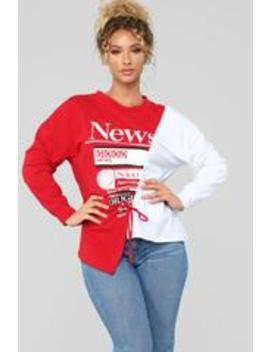 Read All About It Top   Red/Combo by Fashion Nova