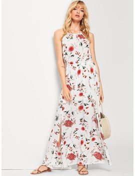 Halterneck Maxi Floral Dress by Shein