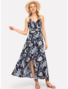 Lace Up Back Floral Ruffle Dress by Shein