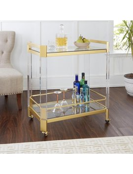 Huxley Acrylic And Gold With Glass Top Bar Cart by Generic