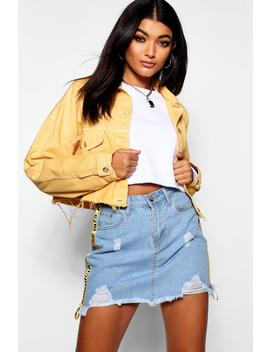 Mustard Cropped Oversized Denim Jacket by Boohoo