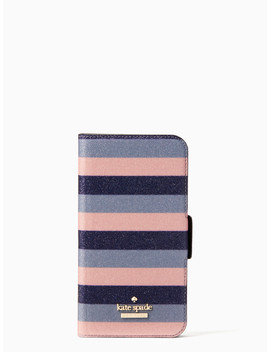 Glitter Stripe Iphone X & Xs Wrap Folio Case by Kate Spade