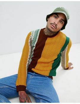 Asos Design Patchwork Fairisle And Cable Knit Sweater In Burgundy And Mustard by Asos Design