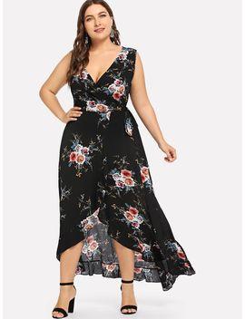 Plus Surplice Neck Floral Ruffle Hem Dress by Shein
