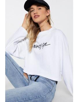 Nasty Gal Word On The Street Cropped Sweatshirt by Nasty Gal