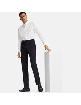Men Wool Straight Fit Stretch Flat Front Suit Trousers by Uniqlo