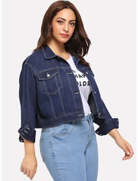 Plus Dark Wash Button Up Denim Jacket by Shein