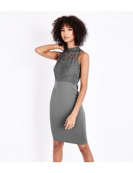 Ax Paris Pewter Lace Bodice Midi Dress by New Look