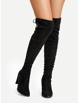Suede Over The Knee Plain Boots by Sheinside