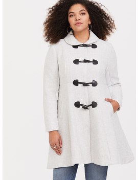 White Toggle Wool Coat by Torrid