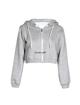 Womens Plain Crop Hoodie Zipper Sweatshirt Zip Cosy Hoody Dance Ladies by Ebay Seller