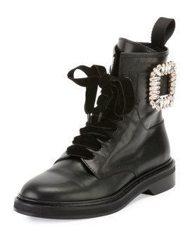 Viv Rangers Strass Leather Lace Up Booties by Roger Vivier