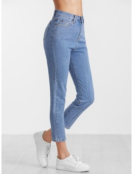 Blue High Waist Casual Jeans by Sheinside