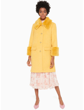Fluffy Wool Faux Fur Trim Coat by Kate Spade