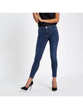 Petite Mid Wash Blue Molly Skinny Jeggings by River Island