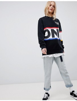 Converse Exclusive One Star Boyfriend Fit Sweatshirt In Black With Logo by Converse