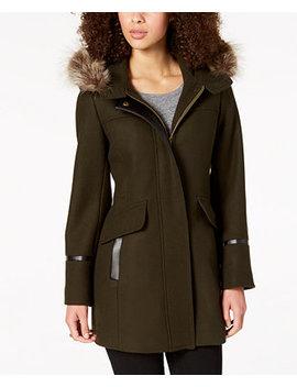 Hooded Fur Trim Coat by Trina Turk